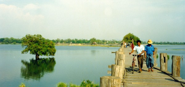 U Bein Teak Bridge across Taungthaman Lake