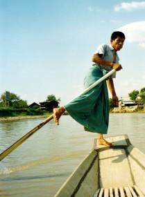 Traditional Inle Lake Boatsman