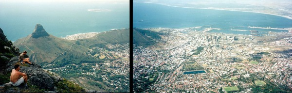 View from Table Mt to Lion Mt and Capetown